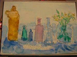 水彩画 空き瓶