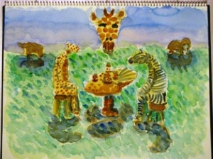 水彩画アフリカ土産